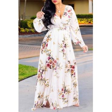 Lovely Bohemian Floral Printed Beige Blending  Floor Length Dress