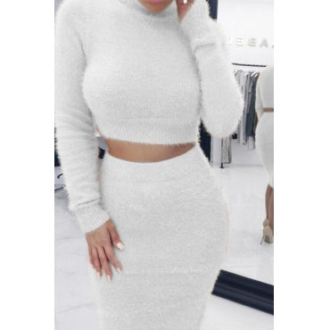 Lovely Casual Skinny White Two-piece Skirt Set
