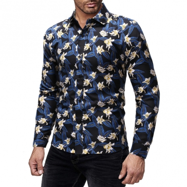 Lovely Casual Floral Printed Blue Cotton Shirt