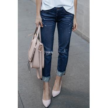 Lovely Casual Broken Holes Dark Blue Denim Jeans