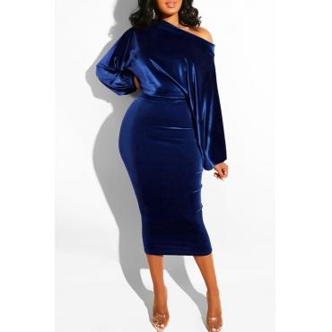 Lovely Elegant Dew Shoulder Deep Blue Blending Mid Calf Dress