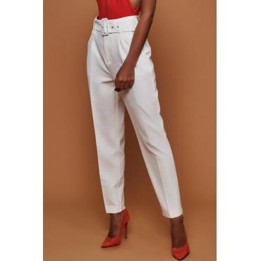 Lovely Trendy Straight White Blending Pants(With Belt)