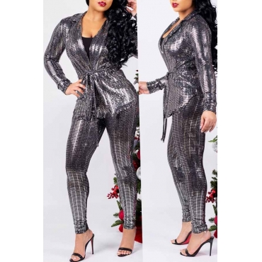 Lovely Casual Lace-up Silver Two-piece Pants Set