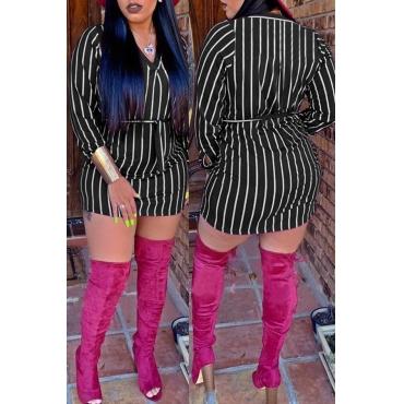 Lovely Casual Striped Black Cotton Mini Dress