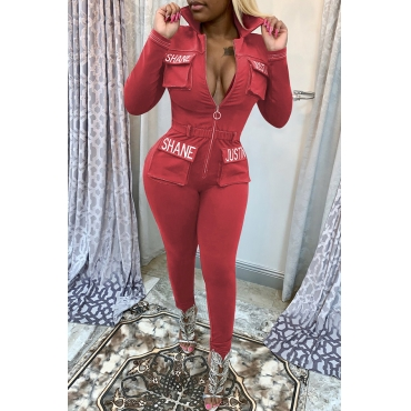 Lovely Casual Zipper Design Red Twilled Satin One-piece Jumpsuit