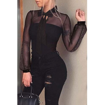 Lovely Sexy See-through Black Bodysuit