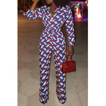 Lovely Casual Printed Multicolor Twilled Satin One-piece Jumpsuit