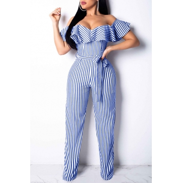 Lovely Trendy Dew Shoulder Striped Blue One-piece Jumpsuit (With Belt)