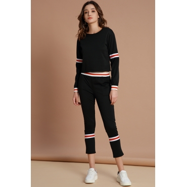 Lovely Chic Striped Black Cotton Two-piece Pants Set
