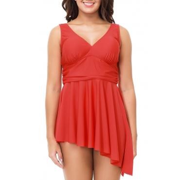 Lovely Trendy Asymmetrical Red Two-piece Swimwears
