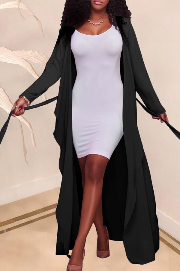 Lovely Casual Lace-up Black Chiffon Coat