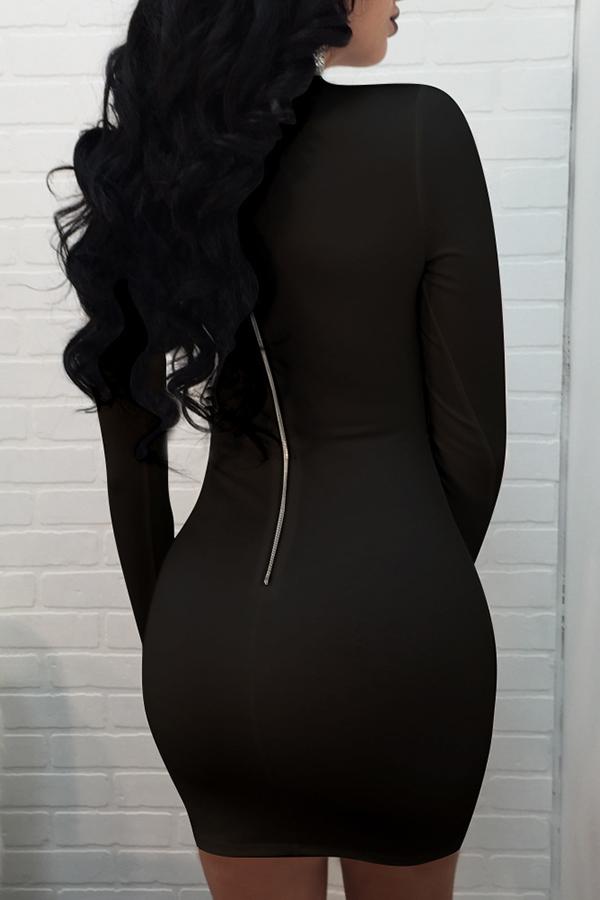 Lovely Elegant Hollowed-out Black Mini Dress