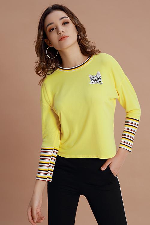 Lovely Casual Animal Printed Yellow Cotton Sweatshirt Hoodies