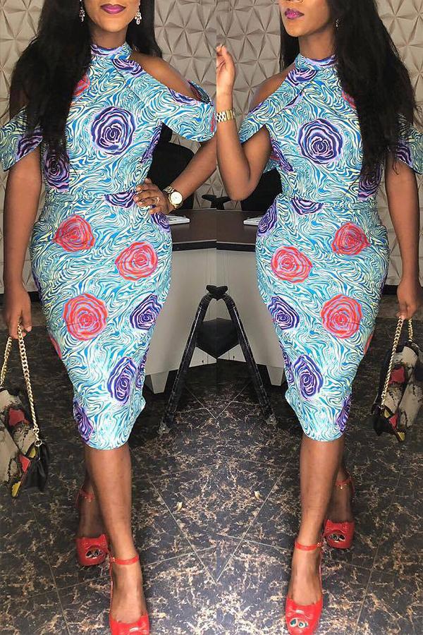 Lovely Casual Dew Shoulder Light Blue Twilled Satin Knee Length Dress