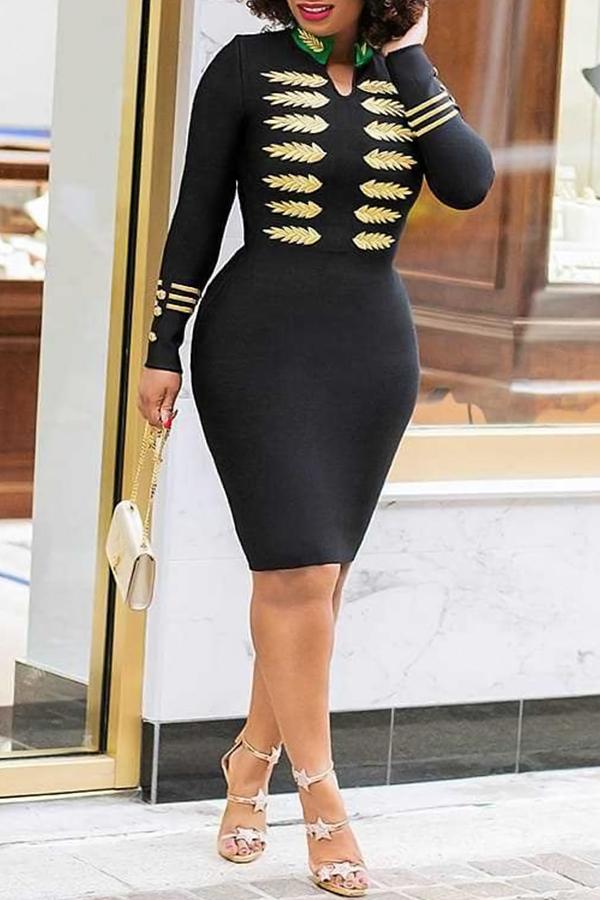 Lovely Trendy Printed Skinny Black Knee Length Dress