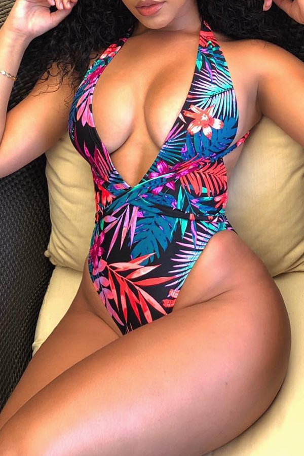 Lovely Sexy Floral Printed Multicolor One-piece Swimwears