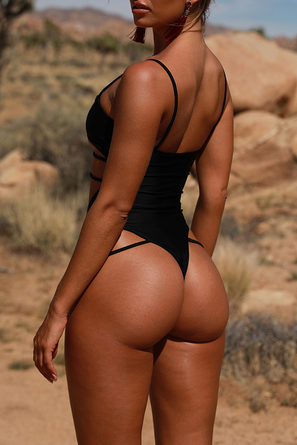 Lovely Trendy Hollowed-out Black One-piece Swimwears