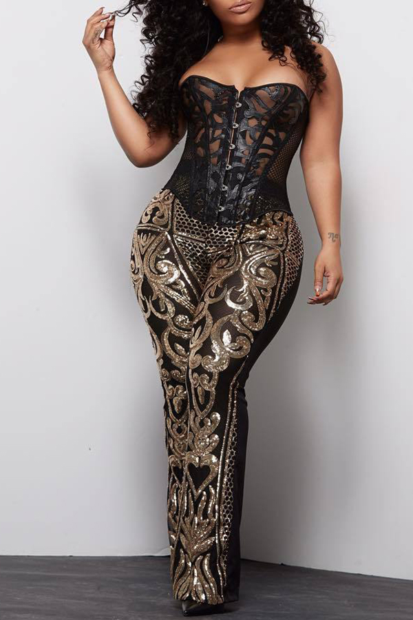 Lovely Trendy Printed Black Twilled Satin Pants