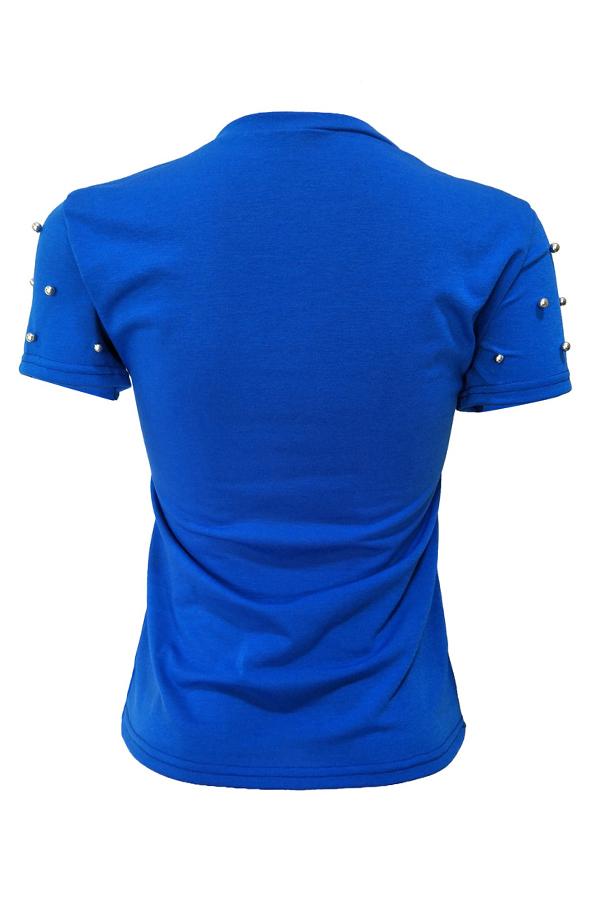 Reizendes Schickes Paillettenbesetztes Dekoratives Königsblau Mischendes T-Shirt
