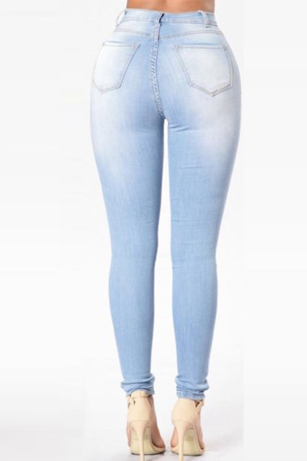 Lovely Trendy High Waist Zipper Design Baby Blue Denim Pants