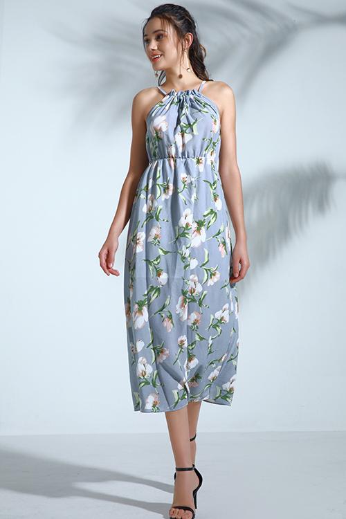 Lovely Bohemian Printed Sky Blue Chiffon Mid Calf Dress