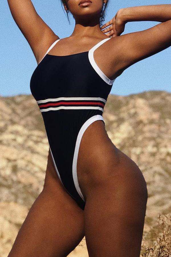 Lovely Trendy High-Leg Multicolor One-piece Swimwears