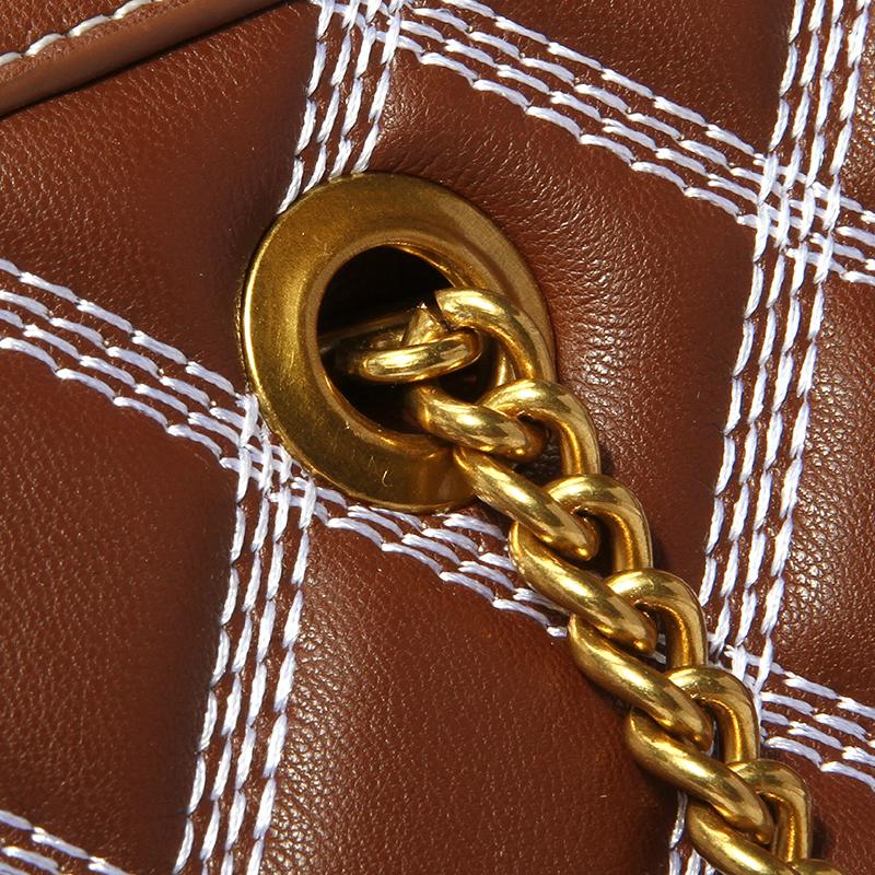 Braune Crossbody-Tasche Aus Metall Mit Schönem Vintage-Kettenriemen