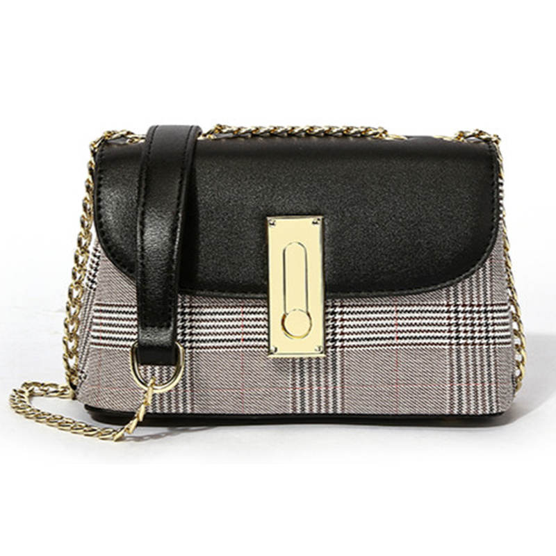 Lovely Elegant Patchwork Black Crossbody Bag