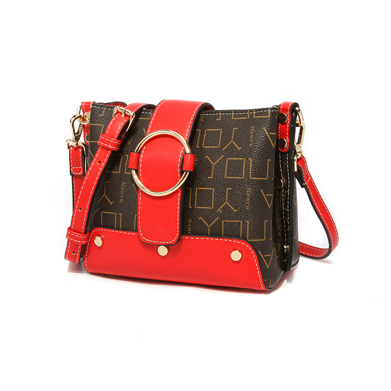 Lovely Trendy Patchwork Red PU Crossbody Bag
