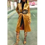 Lovely Casual Long Sleeves Yellow Velvet Coat