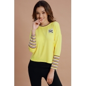 Lovely Casual Animal Printed Yellow Cotton Sweatsh