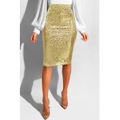Lovely Trendy Skinny Gold Sequined Knee Length Skirts