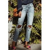 Lovely Denim Casual Solid Mid Zipper Fly Jeans