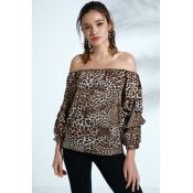 Lovely Bohemian Dew Shoulder Leopard Cotton Blends