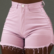 Lovely Trendy Skinny Pink Denim Shorts