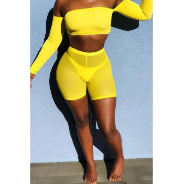 Lovely Trendy Dew Shoulder Yellow Two-piece Shorts Set(Without Underpants)
