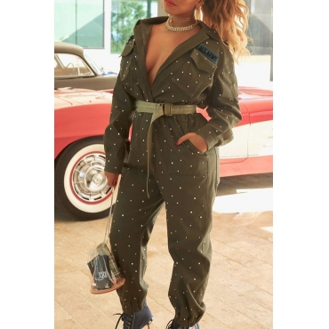 Lovely Casual Loose Army Green Blending  One-piece Jumpsuit (Without Belt)
