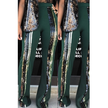 Lovely Trendy Sequined Decorative Blackish Green Blending  Pants