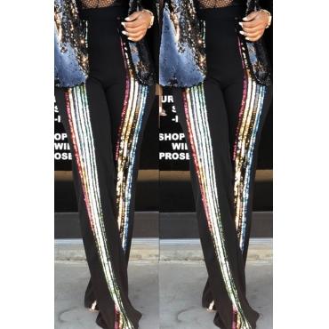 Lovely Trendy Sequined Decorative Black Blending  Pants