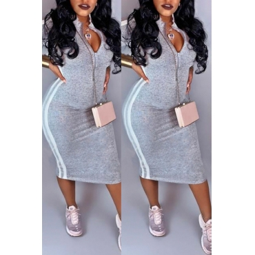Lovely Casual Striped Grey Mid Calf Dress