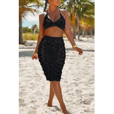 Lovely Sexy Patchwork Black Lace Two-piece Skirt Set