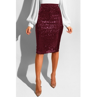 Lovely Trendy Skinny Wine Red Sequined Knee Length Skirts