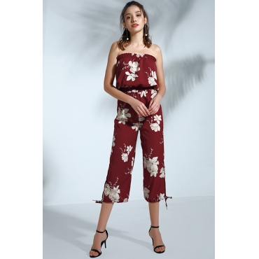 Lovely Bohemian Floral Printed Purplish Red Cotton Blends  One-piece Jumpsuit