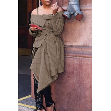 Lovely Trendy  Asymmetrical Khaki Coat