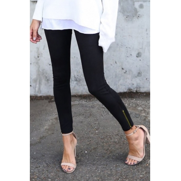 Lovely Euramerican Mid Waist Black Blending Leggings