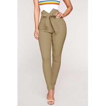 Lovely Trendy Bow-Tie Skinny Khaki Cotton Pants