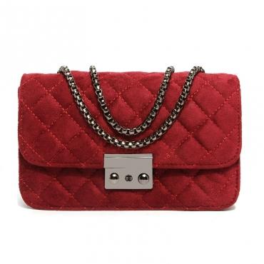 Lovely Trendy Metal Chain Strap  Red Crossbody Bag