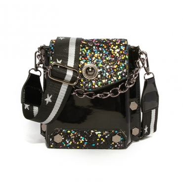 Lovely Chic Patchwork Black  Crossbody Bag