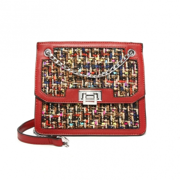Lovely Chic Patchwork Purplish Red PU Crossbody Bag
