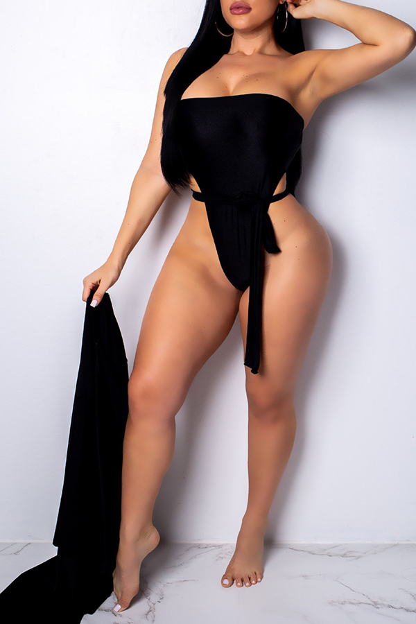 Lovely Sexy Lace-up Black One-piece Swimwears (With Cover-Ups)